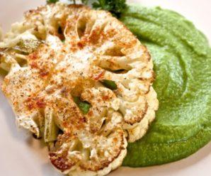 Пюре из цветной капусты, зеленого гороха и кабачка