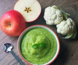 Пюре из киноа, цветной капусты, яблока, гороха и мяты