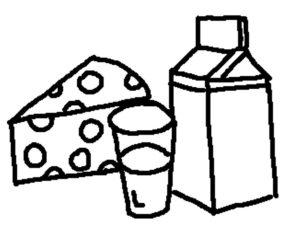 молочные продукты раскраски