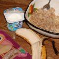 Пюре из банана, творога и каши 4 злака