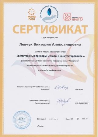 Образование Левчук Виктория Александровна